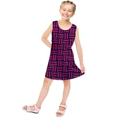 Woven1 Black Marble & Pink Leather (r) Kids  Tunic Dress by trendistuff