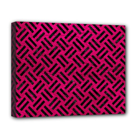Woven2 Black Marble & Pink Leather Deluxe Canvas 20  X 16   by trendistuff