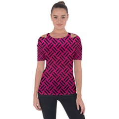 Woven2 Black Marble & Pink Leather Short Sleeve Top