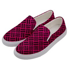 Woven2 Black Marble & Pink Leather Men s Canvas Slip Ons by trendistuff