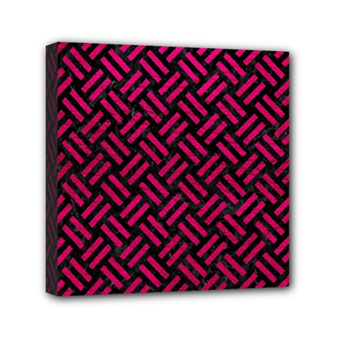 Woven2 Black Marble & Pink Leather (r) Mini Canvas 6  X 6  by trendistuff