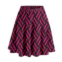 Woven2 Black Marble & Pink Leather (r) High Waist Skirt by trendistuff