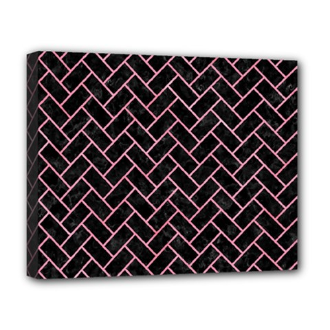 Brick2 Black Marble & Pink Watercolor (r) Deluxe Canvas 20  X 16   by trendistuff