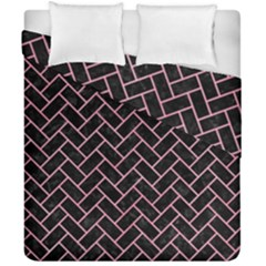Brick2 Black Marble & Pink Watercolor (r) Duvet Cover Double Side (california King Size) by trendistuff