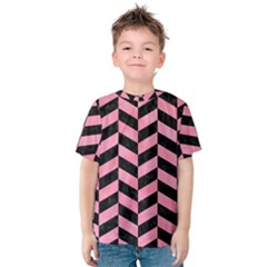 Chevron1 Black Marble & Pink Watercolor Kids  Cotton Tee
