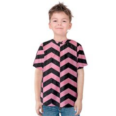 Chevron2 Black Marble & Pink Watercolor Kids  Cotton Tee