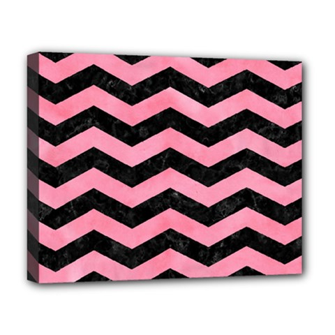 Chevron3 Black Marble & Pink Watercolor Deluxe Canvas 20  X 16   by trendistuff