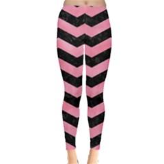 Chevron3 Black Marble & Pink Watercolor Leggings  by trendistuff