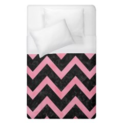 Chevron9 Black Marble & Pink Watercolor (r) Duvet Cover (single Size) by trendistuff