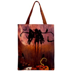 Halloween Design With Scarecrow, Crow And Pumpkin Classic Tote Bag by FantasyWorld7