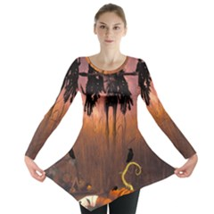 Halloween Design With Scarecrow, Crow And Pumpkin Long Sleeve Tunic  by FantasyWorld7