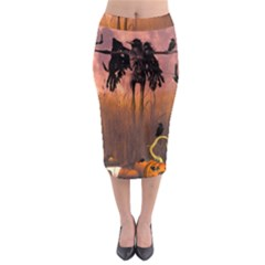 Halloween Design With Scarecrow, Crow And Pumpkin Midi Pencil Skirt by FantasyWorld7