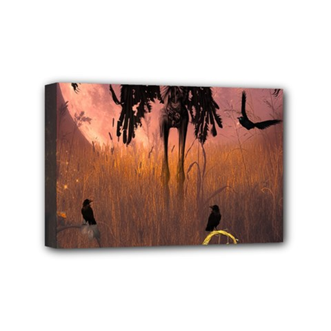 Halloween Design With Scarecrow, Crow And Pumpkin Mini Canvas 6  X 4  by FantasyWorld7