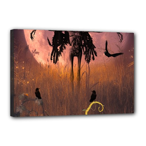 Halloween Design With Scarecrow, Crow And Pumpkin Canvas 18  X 12  by FantasyWorld7