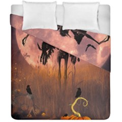 Halloween Design With Scarecrow, Crow And Pumpkin Duvet Cover Double Side (california King Size) by FantasyWorld7