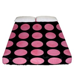 Circles1 Black Marble & Pink Watercolor (r) Fitted Sheet (queen Size) by trendistuff