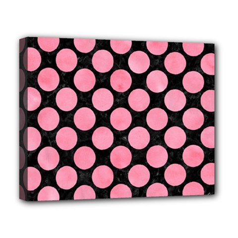 Circles2 Black Marble & Pink Watercolor (r) Deluxe Canvas 20  X 16   by trendistuff