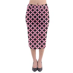 Circles3 Black Marble & Pink Watercolor (r) Midi Pencil Skirt