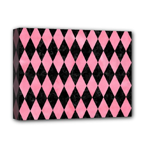 Diamond1 Black Marble & Pink Watercolor Deluxe Canvas 16  X 12   by trendistuff