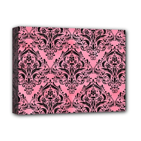 Damask1 Black Marble & Pink Watercolor Deluxe Canvas 16  X 12   by trendistuff