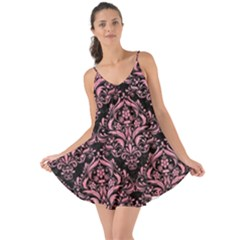 Damask1 Black Marble & Pink Watercolor (r) Love The Sun Cover Up