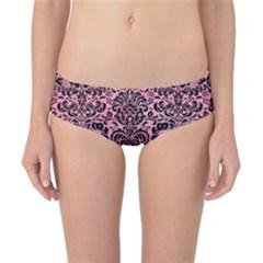 Damask2 Black Marble & Pink Watercolor Classic Bikini Bottoms by trendistuff