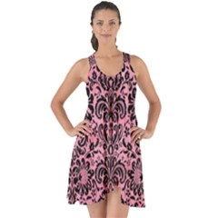 Damask2 Black Marble & Pink Watercolor Show Some Back Chiffon Dress by trendistuff