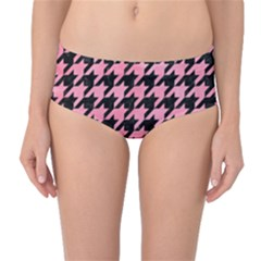 Houndstooth1 Black Marble & Pink Watercolor Mid Waist Bikini Bottoms