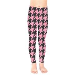 Houndstooth1 Black Marble & Pink Watercolor Kids  Legging by trendistuff