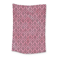 Hexagon1 Black Marble & Pink Watercolor Small Tapestry