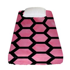 Hexagon2 Black Marble & Pink Watercolor Fitted Sheet (single Size) by trendistuff