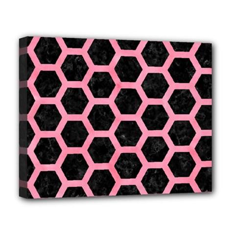 Hexagon2 Black Marble & Pink Watercolor (r) Deluxe Canvas 20  X 16   by trendistuff