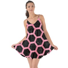 Hexagon2 Black Marble & Pink Watercolor (r) Love The Sun Cover Up