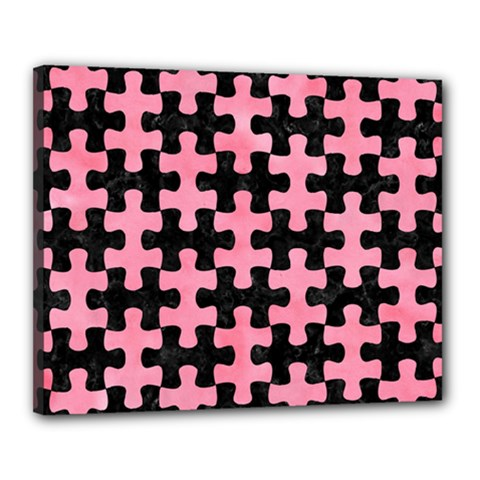 Puzzle1 Black Marble & Pink Watercolor Canvas 20  X 16  by trendistuff