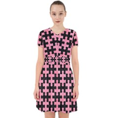 Puzzle1 Black Marble & Pink Watercolor Adorable In Chiffon Dress