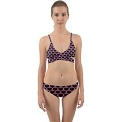 Scales3 Black Marble & Pink Watercolor (r) Wrap Around Bikini Set