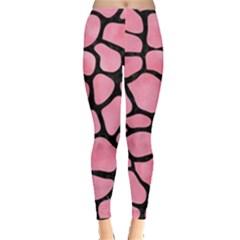 Skin1 Black Marble & Pink Watercolor (r) Leggings  by trendistuff