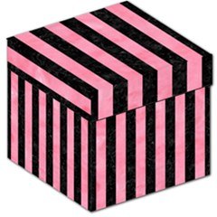 Stripes1 Black Marble & Pink Watercolor Storage Stool 12   by trendistuff