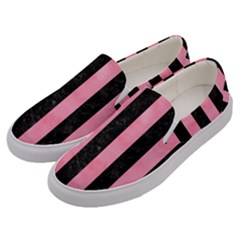 Stripes1 Black Marble & Pink Watercolor Men s Canvas Slip Ons by trendistuff