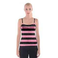 Stripes2 Black Marble & Pink Watercolor Spaghetti Strap Top