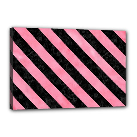 Stripes3 Black Marble & Pink Watercolor Canvas 18  X 12  by trendistuff