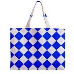 Blue White Diamonds Seamless Zipper Mini Tote Bag by Onesevenart
