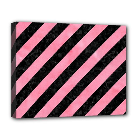 Stripes3 Black Marble & Pink Watercolor (r) Deluxe Canvas 20  X 16   by trendistuff