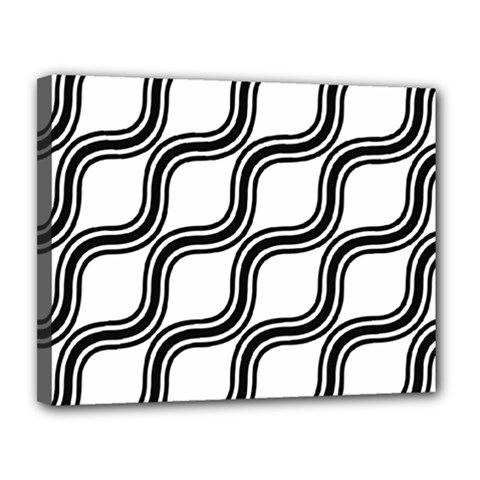 Diagonal Pattern Background Black And White Canvas 14  X 11  by Onesevenart