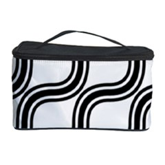 Diagonal Pattern Background Black And White Cosmetic Storage Case by Onesevenart