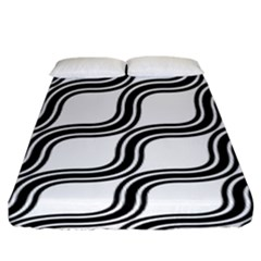 Diagonal Pattern Background Black And White Fitted Sheet (king Size) by Onesevenart
