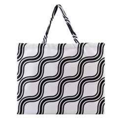 Diagonal Pattern Background Black And White Zipper Large Tote Bag by Onesevenart