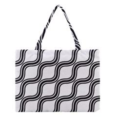 Diagonal Pattern Background Black And White Medium Tote Bag by Onesevenart