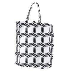 Diagonal Pattern Background Black And White Giant Grocery Zipper Tote by Onesevenart