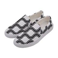 Diagonal Pattern Background Black And White Women s Canvas Slip Ons by Onesevenart